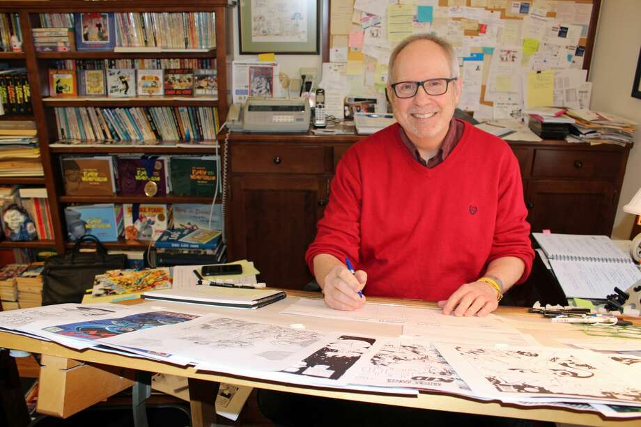 "Tom Batiuk, creator of the comic ""Funky Winkerbean,"" in his studio. Photo: Photos Courtesy Of The Author"
