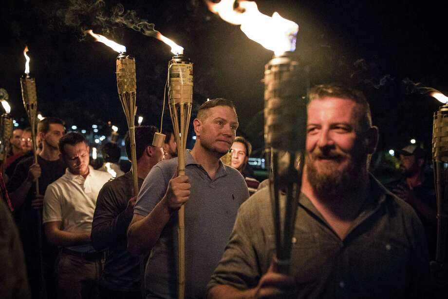 A torch-lit march by white nationalists through the grounds of the University of Virginia in Charlottesville, Va., Aug. 11. The nation is filled with grievance. Photo: EDU BAYER /NYT / NYTNS