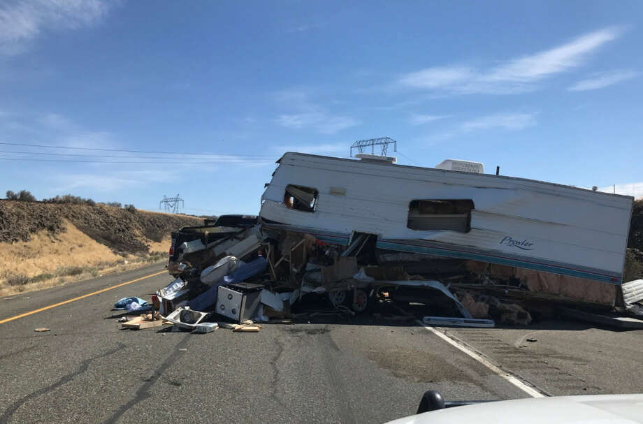 One person is dead and a second is in serious condition after several cars and a semi-truck crashed entering the smoke-covered part of the Highway near the Ryegrass rest area around 11 a.m., said Washington State Trooper Brian Moore. Photo: Trooper Brian Moore/Washington State Patrol