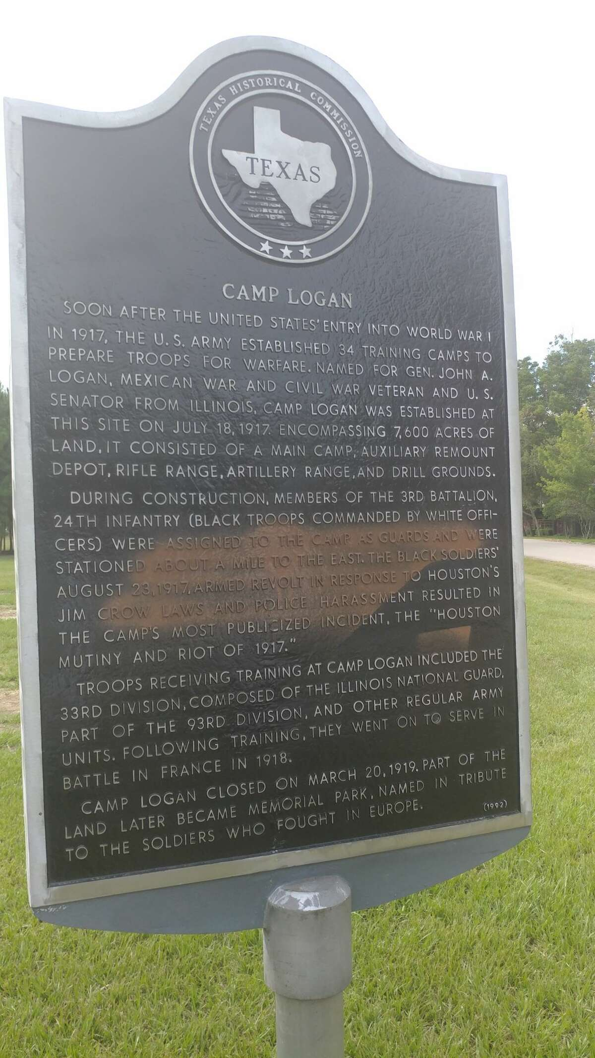 Spray paint was found on the newly restored Camp Logan historical marker in Memorial Park on Aug. 24, 2017 mere hours after its rededication on Aug. 23, 2017. The attack comes less than a day after the state historical monument, scarred on its back by previous damage, was unveiled by officials, preservationist and history lovers. The program included calls for