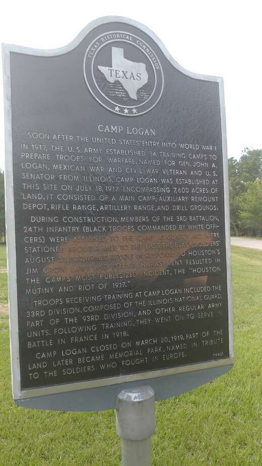 """Spray paint was found on the newly restored Camp Logan historical  marker in Memorial Park on Aug. 24, 2017 mere hours after its rededication on Aug. 23, 2017. The attack comes less than a day after the state historical monument,  scarred on its back by previous damage, was unveiled by officials,  preservationist and history lovers. The program included calls for  """"tolerance and understanding"""" by Mayor Sylvester Turner and other  speakers. Photo: Debra Blacklock-Sloan, Harris County Historical Commission"""