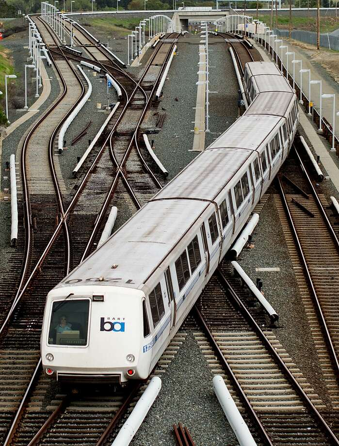 A BART rides over rails just north of the North Concord station on Monday, March 21, 2016. Photo: NOAH BERGER / SAN FRANCISCO CHRONICLE / NOAH BERGER / SPECIAL TO THE CHRONICLE