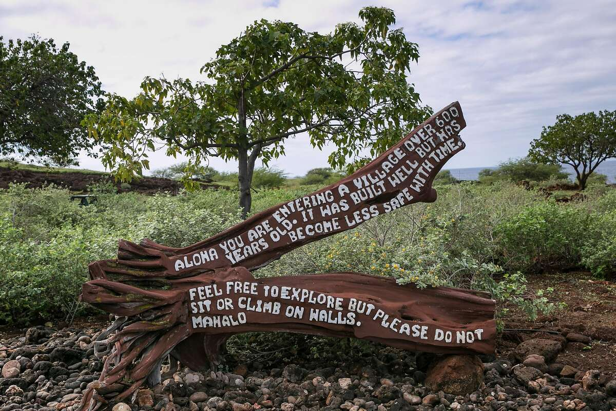 HAWI, HI - DECEMBER 17: The entrance to Lapakahi State Historical Park is viewed on December 17, 2016, near Hawi on the Kohala Coast, Hawaii. Hawaii, the largest of all the Hawaiian Islands at 4,000 square miles and growing, features active volcanoes, large cattle ranches, unusual flora and fauna, waterfalls, rainforests, and occasionally, snowcapped mountains.