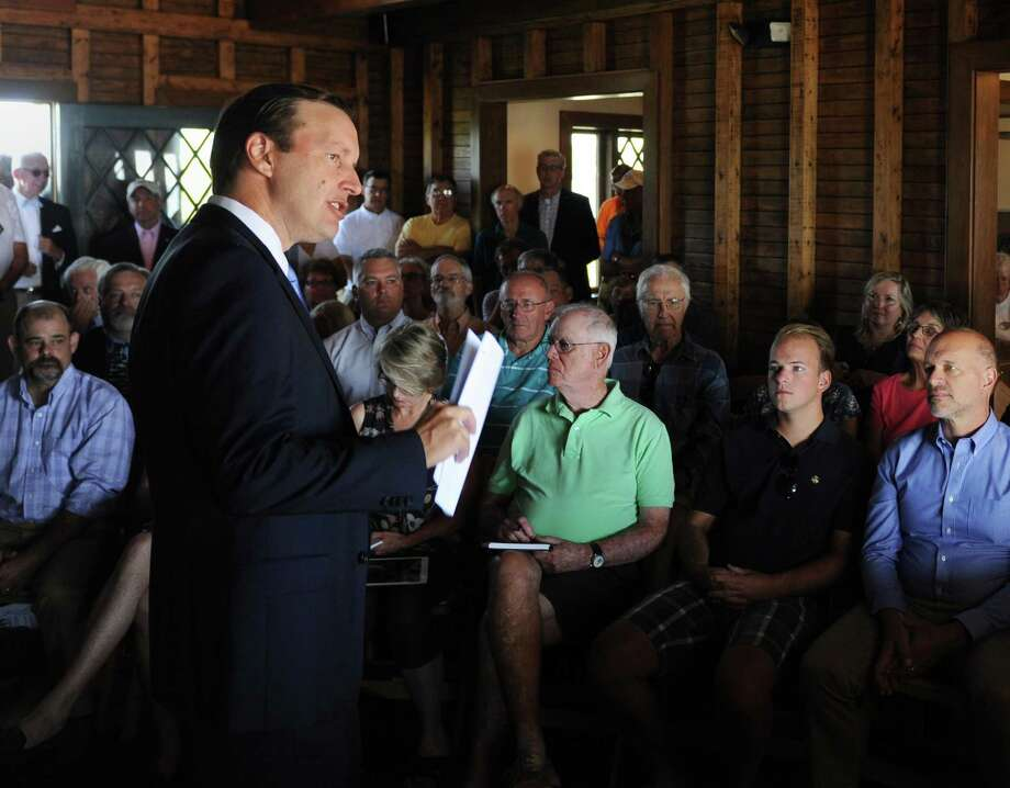 U.S. Sen. Chris Murphy speaks about the Long Island Sound at Greenwich Point Park's Innis Arden Cottage in Old Greenwich, Conn. Thursday, Aug. 24, 2017. Sen. Murphy addressed President Trump's proposed Envirnomental Protection Agency budget cuts, which would eliminate the EPA's Long Island Sound program. Photo: Tyler Sizemore / Hearst Connecticut Media / Greenwich Time