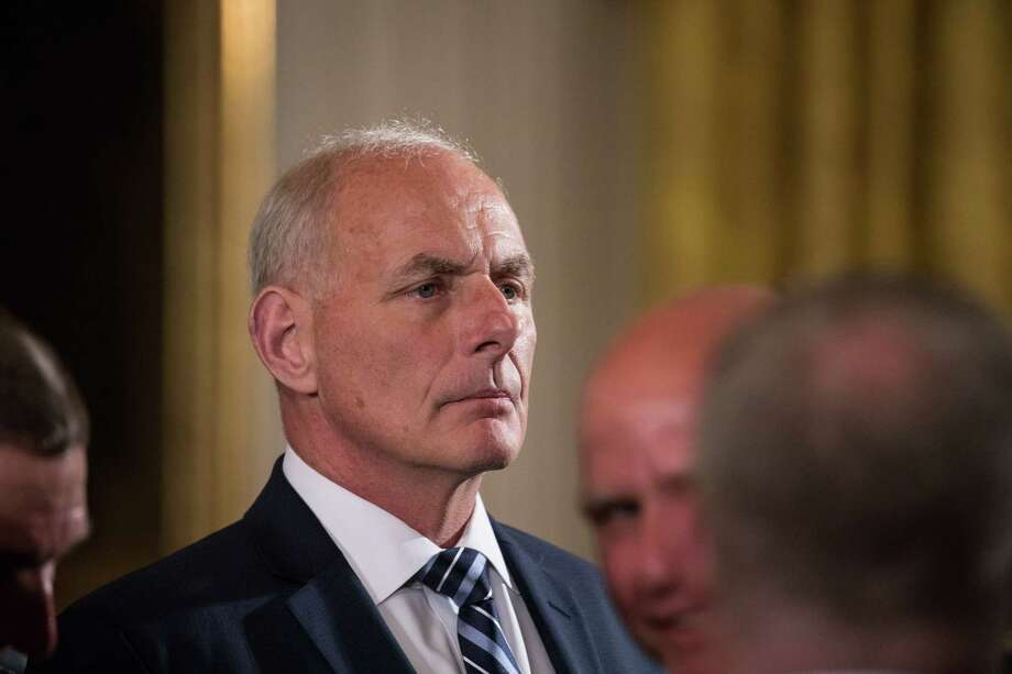 John Kelly, White House chief of staff for President Donald Trump, attends a Medal of Honor ceremony for former Spc. 5 James McCloughan last month.  He has yet to exert discipline on President Donald Trump. Photo: Cheriss May, MBR / Sipa USA