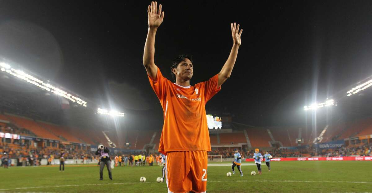 Houston Dynamo's Brian Ching acknowledges the crowd after the Brian Ching Testimonial Match, Friday, December 13, 2013, at BBVA Compass Stadium in Houston. Ching is launching a soccer bar in EaDo near the Dynamo stadium in March 2018.