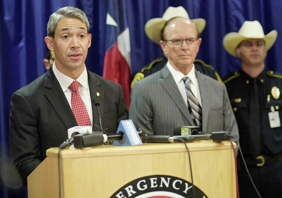 San Antonio Mayor Ron Nirenberg, left, flanked by Bexar County Judge Nelson W. Wolff and officials from city and county emergency services, speaks during a press conference regarding preparations for Hurricane Harvey, Thursday, Aug. 24, 2017, at the Emergency Operations Center in San Antonio. (Darren Abate/For the Express-News) Photo: Darren Abate, FRE / Darren Abate/San Antonio Express-News / San Antonio Express-News