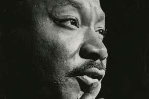 The Rev. Martin Luther King Jr. is shown at the Sam Houston Coliseum on Oct 17, 1967.