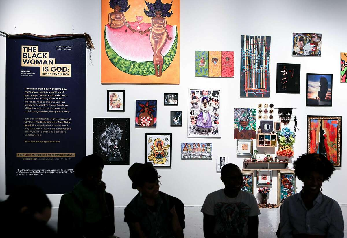 Art work for the Black Woman Is God is displayed for the upcoming exhibition as the artists discuss their work at SOMArts on Wednesday, August 23, 2017 in San Francisco, Calif.