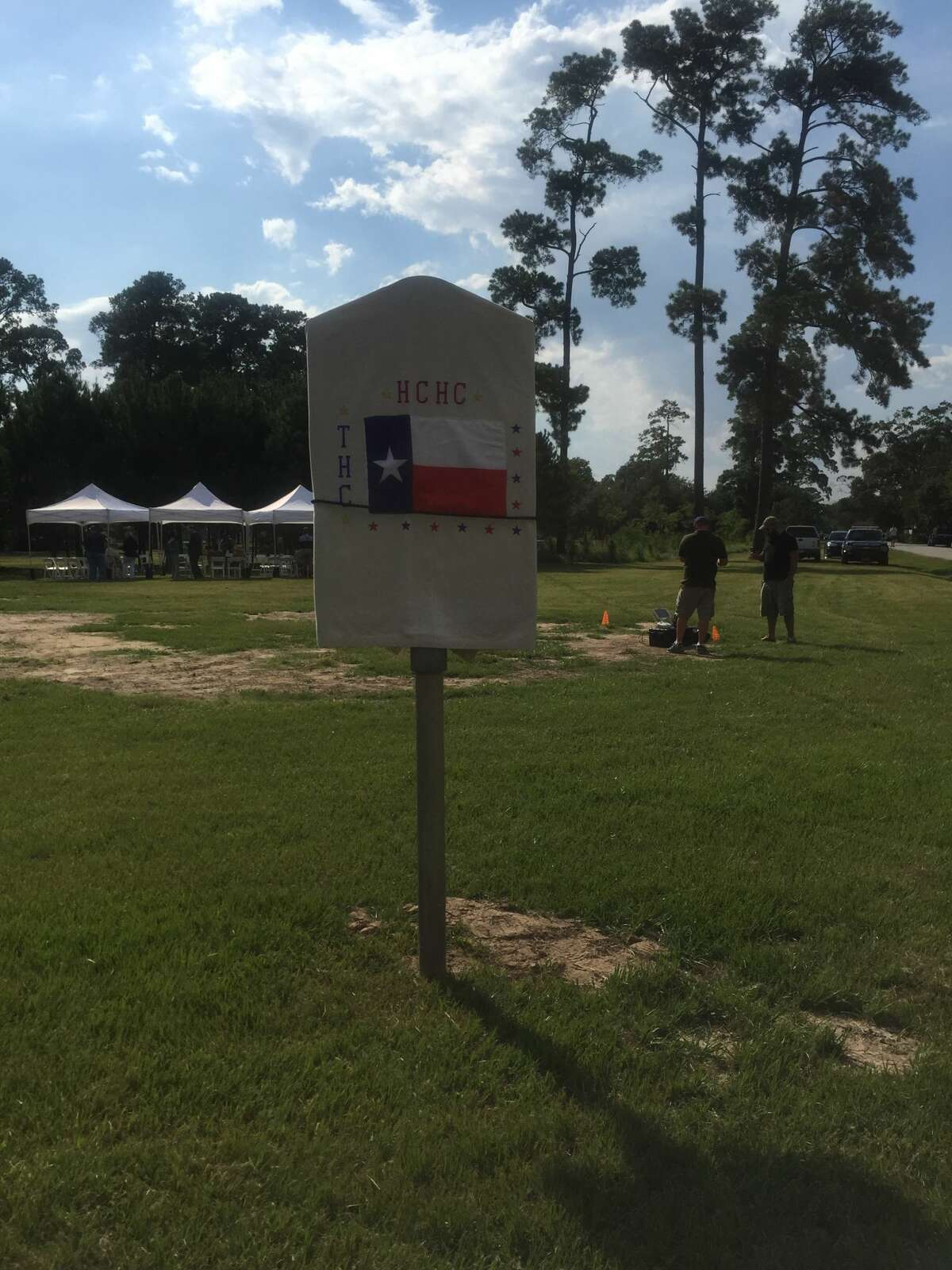The Texas Historical Commission marker honoring Camp Logan, which stands on the edge of Memorial Park, was rededicated on Aug. 23, 2017 following repairs.