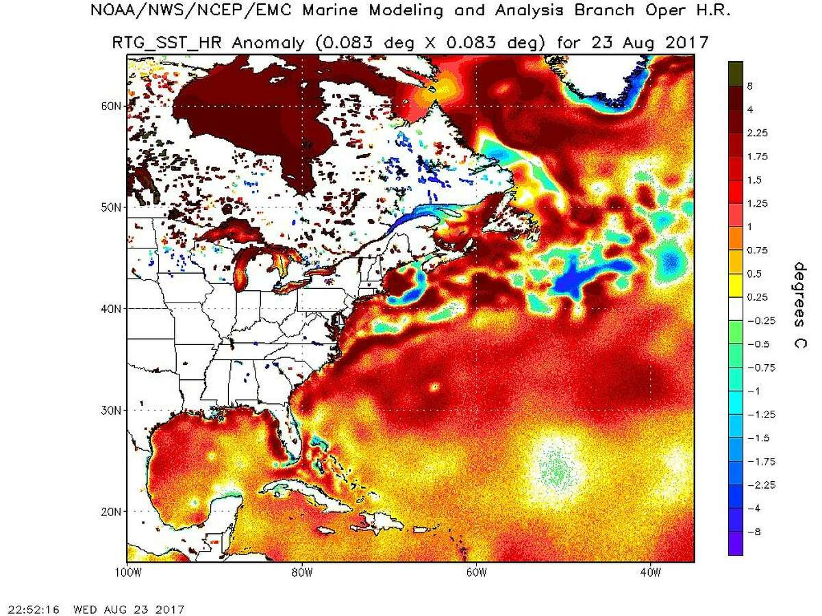 A National Oceanic and Atmospheric Administration map for Wednesday shows sea surface temperatures of 1.8 to 3.15 degrees Fahrenheit above normal.