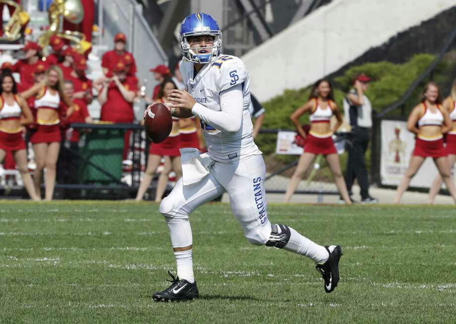 AMES, IA - SEPTEMBER 24: Quarterback Josh Love #12 of the San Jose State Spartans looks to pass in the second half of play against the Iowa State Cyclones at Jack Trice Stadium on September 24, 2016 in Ames, Iowa. The Iowa State Cyclones won 44-10 over the San Jose State Spartans.(Photo by David K Purdy/Getty Images) Photo: David K Purdy / Getty Images / 2016 David K Purdy