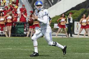 AMES, IA - SEPTEMBER 24: Quarterback Josh Love #12 of the San Jose State Spartans looks to pass in the second half of play against the Iowa State Cyclones at Jack Trice Stadium on September 24, 2016 in Ames, Iowa. The Iowa State Cyclones won 44-10 over the San Jose State Spartans.(Photo by David K Purdy/Getty Images)