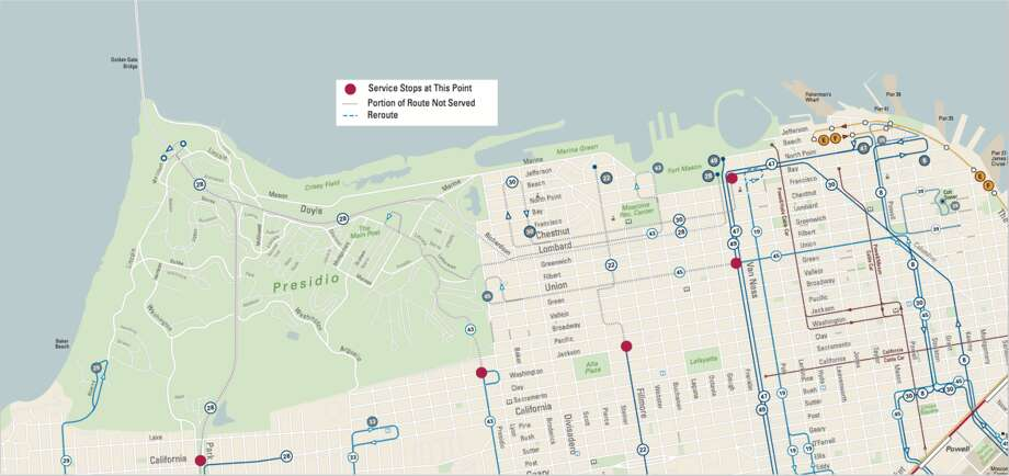 There will be several changes to Muni service in light of the planned events at Crissy Field and Civic Center. Photo: Courtesy/San Francisco Municipal Transportation Agency
