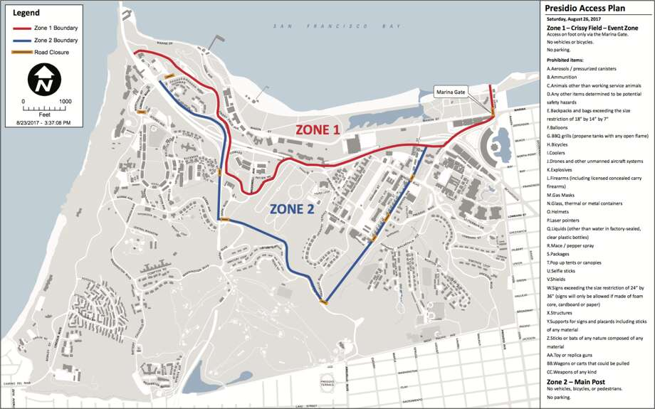 The Golden Gate National Recreational Area has released this map detailing road closures and prohibited items for Saturday's rally at Crissy Field. Photo: Courtesy/Golden Gate National Recreation Area