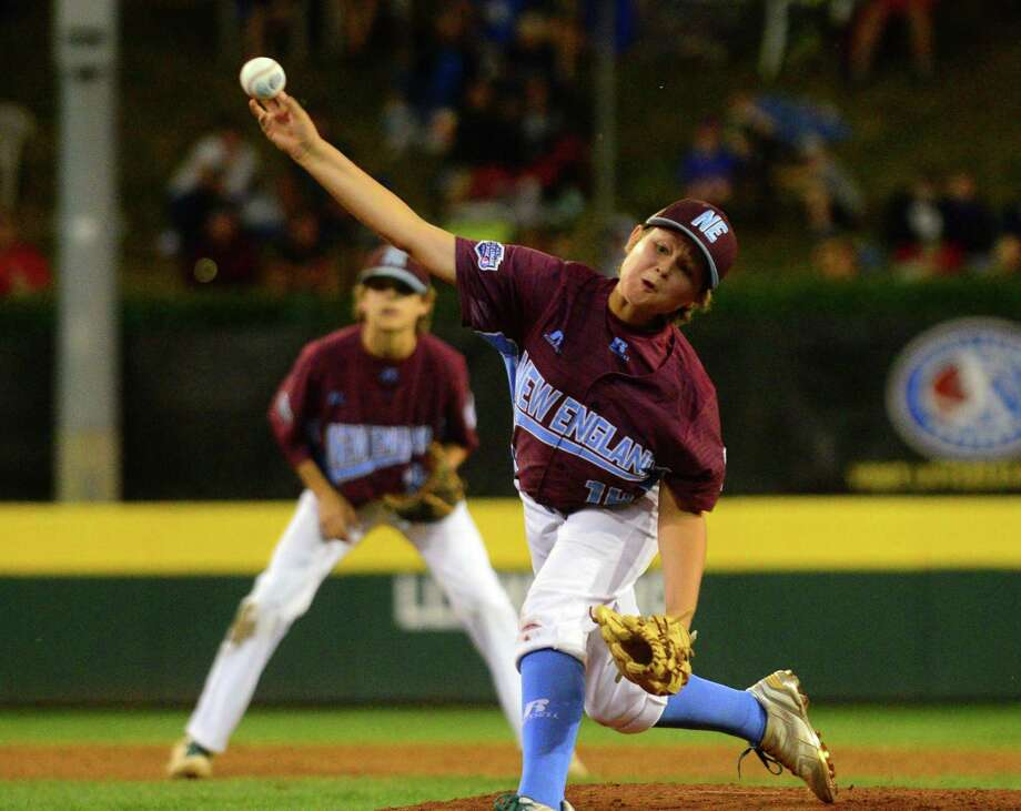 Fairfield American's Griffin Dodder pitches during the Little League World Series on Thursday against Lufkin, Texas at Lamade Stadium in South Williamsport, Pa. Photo: Christian Abraham / Hearst Connecticut Media / Connecticut Post