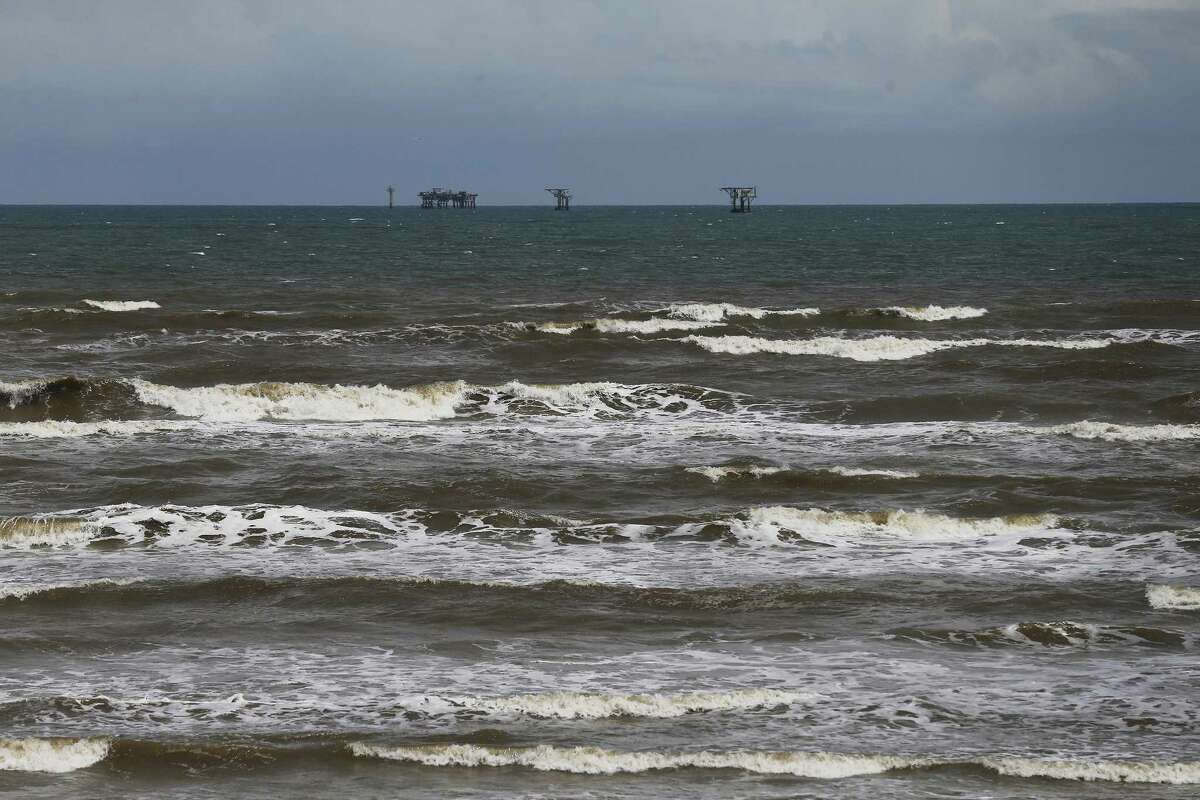 Oil and gas platforms off of Mustang Island sit as Hurricane Harvey approaches Texas. Multiple oil platforms have been evacuated as hurricane Harvey - which strengthened to a Category 2 hurricane on Friday - slowly moved toward Texas.