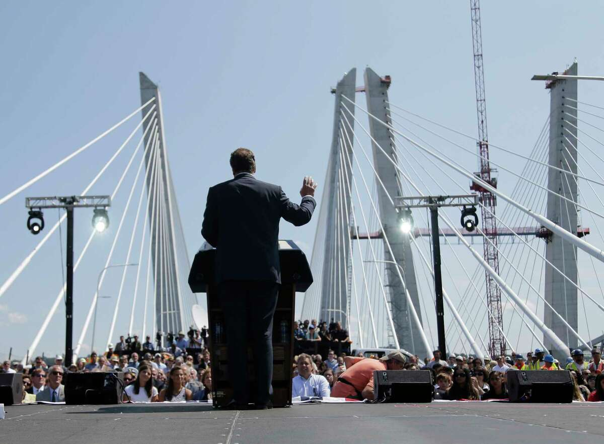 New York Governor Andrew Cuomo speaks during a ribbon cutting ceremony for the Tappan Zee Bridge replacement, called the The Gov. Mario M. Cuomo Bridge, near Tarrytown, N.Y., Thursday, Aug. 24, 2017. The event was held a day before vehicles start rolling across the massive new Hudson River span. Cuomo and a host of other dignitaries attended Thursday's ceremony for the 3-mile long bridge, which is being named after Cuomo's late father. (AP Photo/Seth Wenig)