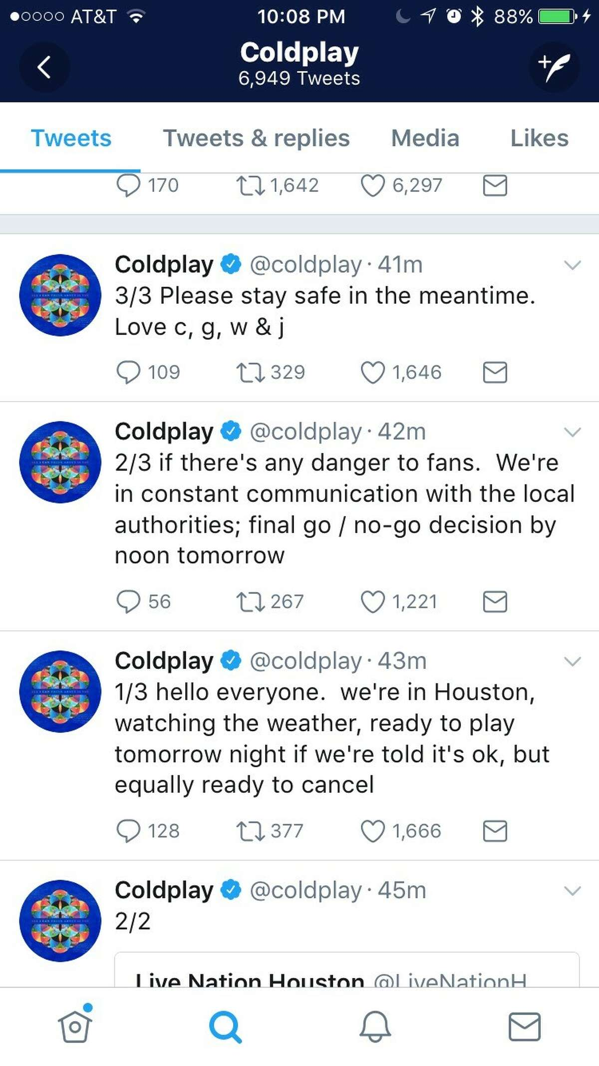 Coldplay tweeted Thursday evening about its Houston show.