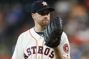Houston Astros starting pitcher Collin McHugh (31) between pitches during the first inning of an MLB game at Minute Maid Park, Thursday, Aug. 3, 2017, in Houston. ( Karen Warren / Houston Chronicle )