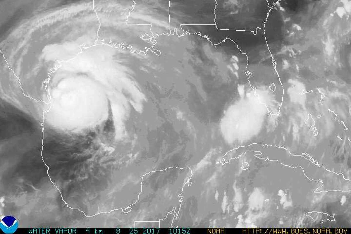 Satellite imagery shows water vapors from Hurricane Harvey as of Aug. 25, 2017.