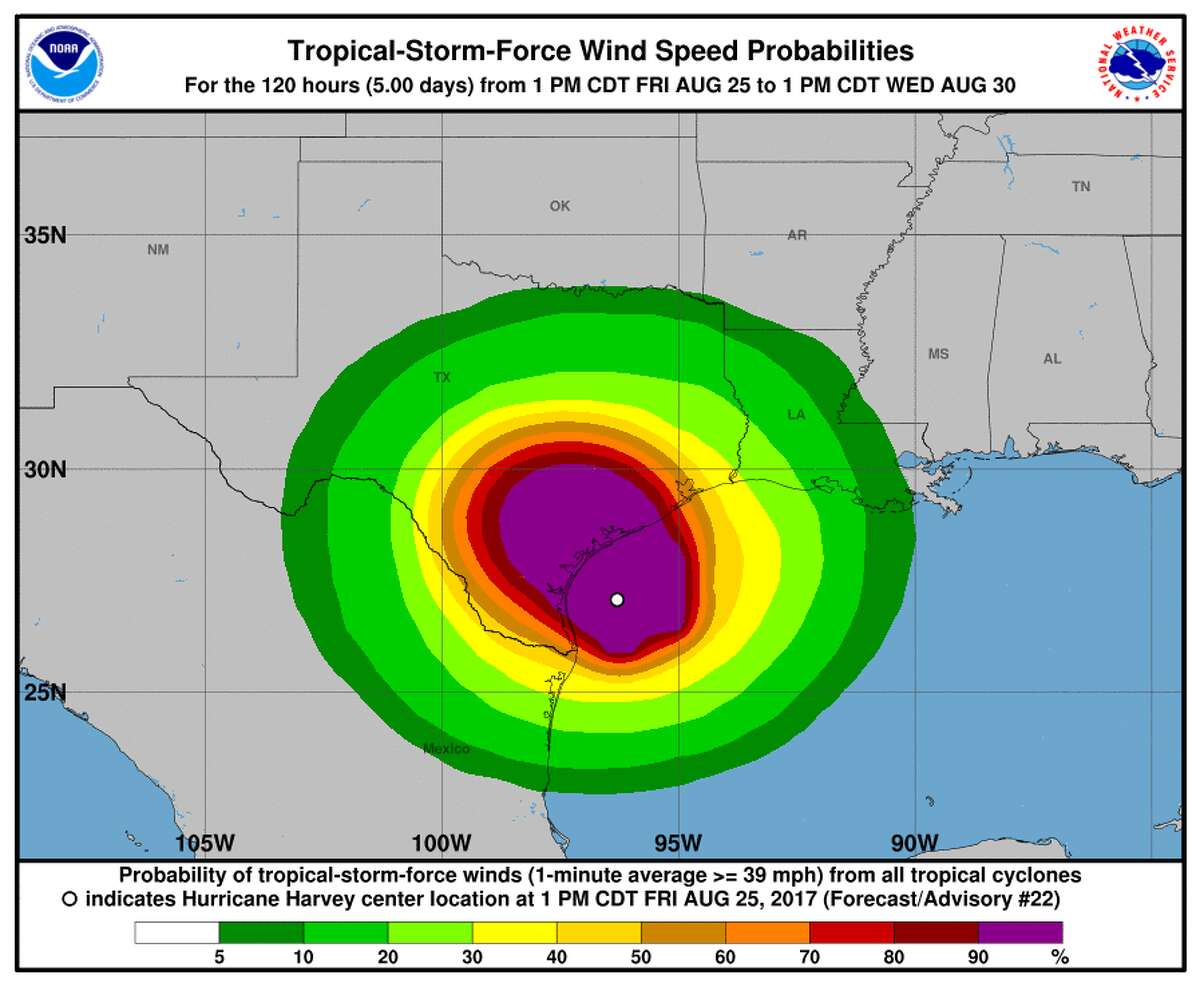Tropical storm-force winds projected for Hurricane Harvey in Texas as of Friday evening, Aug. 25, 2017.