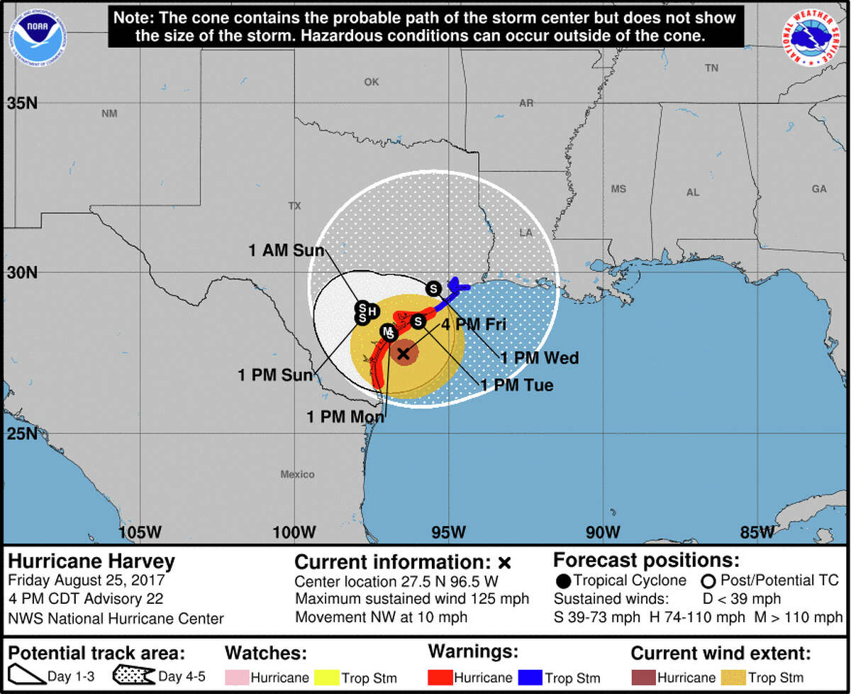 Hurricane Harvey's projected path into Texas as of Friday evening, Aug. 25, 2017.