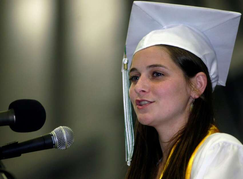 Rachel Berger reminds her fellow graduates to always maintain connections to those in life one holds most dear.