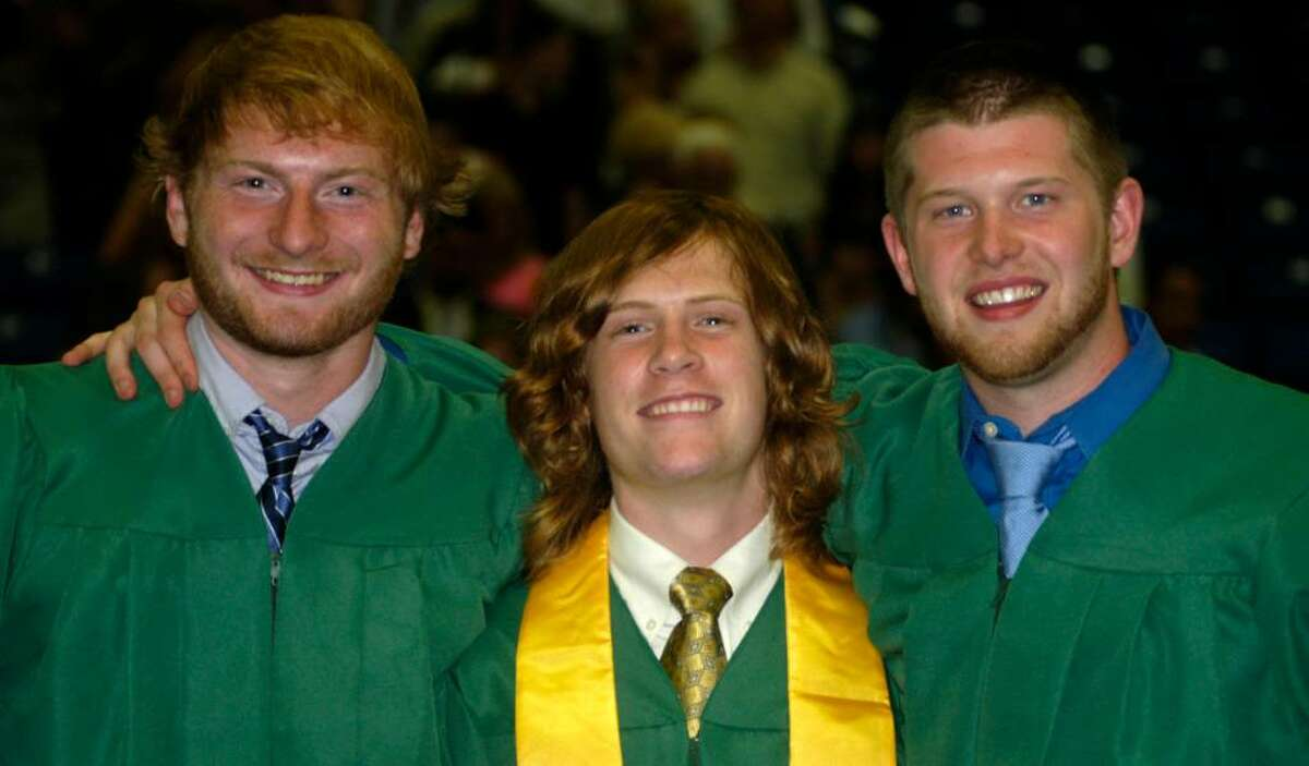Moments after the ceremony, from left to right, Rory Kennedy, Eli Novicky and Luke Martin are seen posing for a friend's camera.