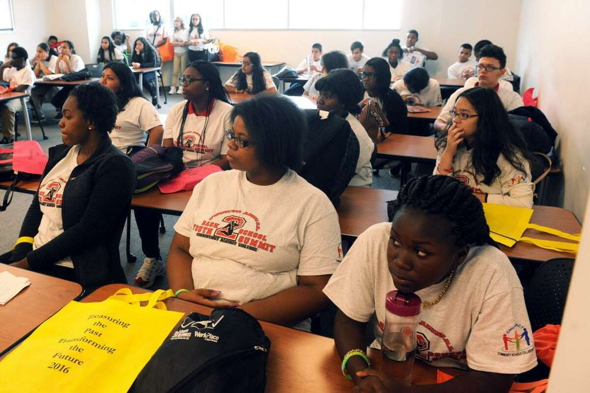 Students attend a workshop addressing bullying and gang activity at the Connecticut Against Violence 4th Annual Bridgeport Back to School Youth Summit, held at Housatonic Community College in Bridgeport, Conn. Sept. 23, 2016.