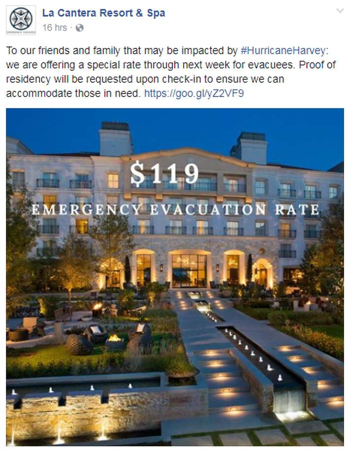 "La Cantera Resort & SpaOffering a $110 ""Emergency Evacuation Rate,"" proof of residency must be provided at check-in. Photo: Facebook.com"