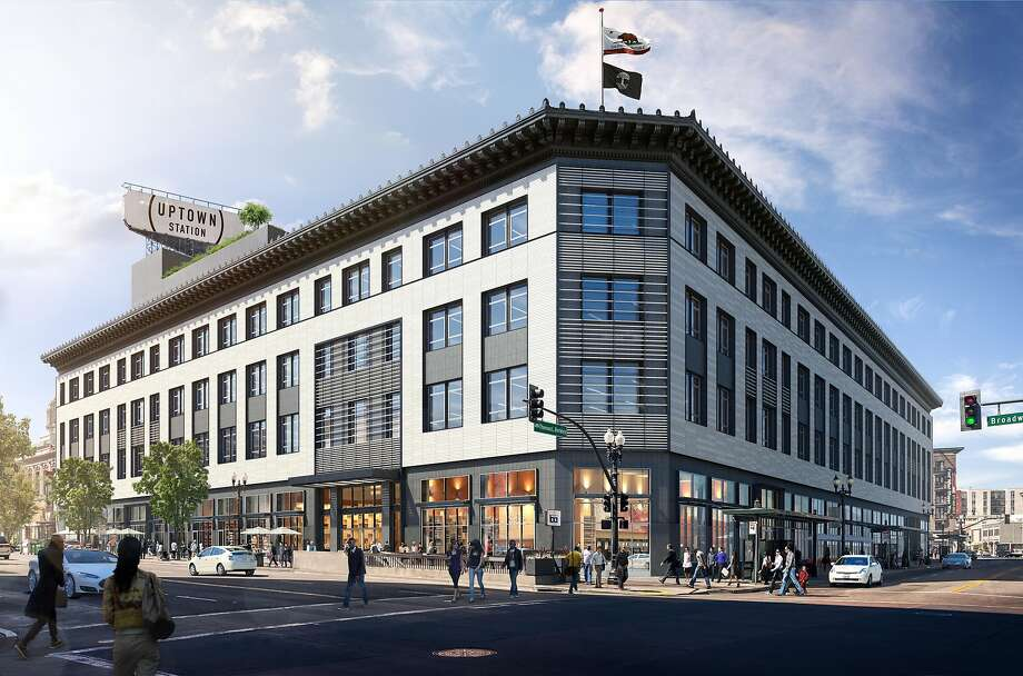 Uber is now planning to sell the former Sears building in downtown Oakland that it purchased in 2015 and planned to turn an East Bay global headquarters. This photo shows a rendering of the exterior of what Uber had planned to do with the building. Photo: Steelblue And Gensler