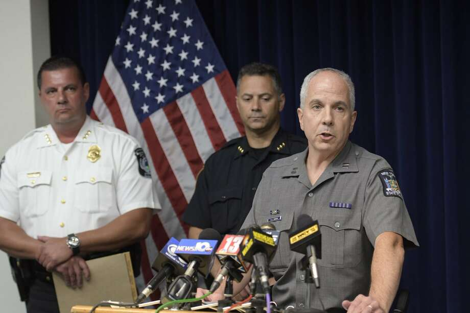 State Police Capt. Richard O'Brien on Friday, Aug. 25, 2017, discusses a police shooting in Glenville in which a knife-wielding man was killed. (Skip Dickstein/Times Union) Photo: Skip Dickstein/Times Union