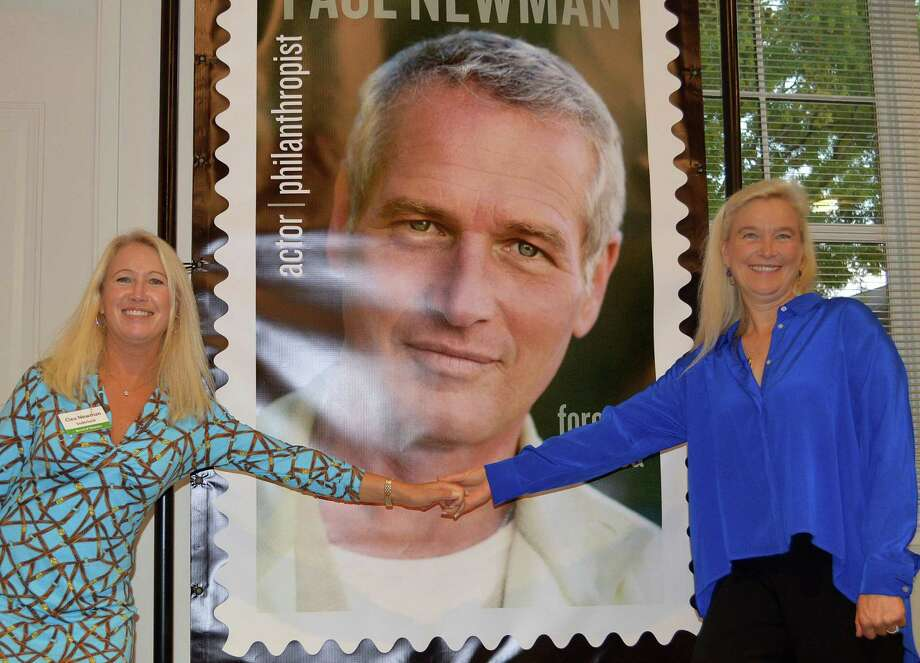 Paul Newman's daughters Clea Newman Soderlund, left, and Nell Newman at ceremonies marking the issue of a commemorative stamp of the late Westport actor. Photo: Jarret Liotta / For Hearst Connecticut Media / Westport News