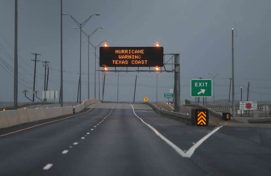 CORPUS CHRISTI, TX - AUGUST 25: A road sign warns travelers of the the approaching Hurricane Harvey on August 25, 2017 in Corpus Christi, Texas.  Hurricane Harvey has intensified into a hurricane and is aiming for the Texas coast with the potential for up to 3 feet of rain and 125 mph winds.  (Photo by Joe Raedle/Getty Images) Photo: Joe Raedle/Getty Images
