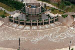 This is the end of the underground tunnel that diverts flood water under downtown San Antonio and empties out at the San Antonio River at Lone Star Boulevard.