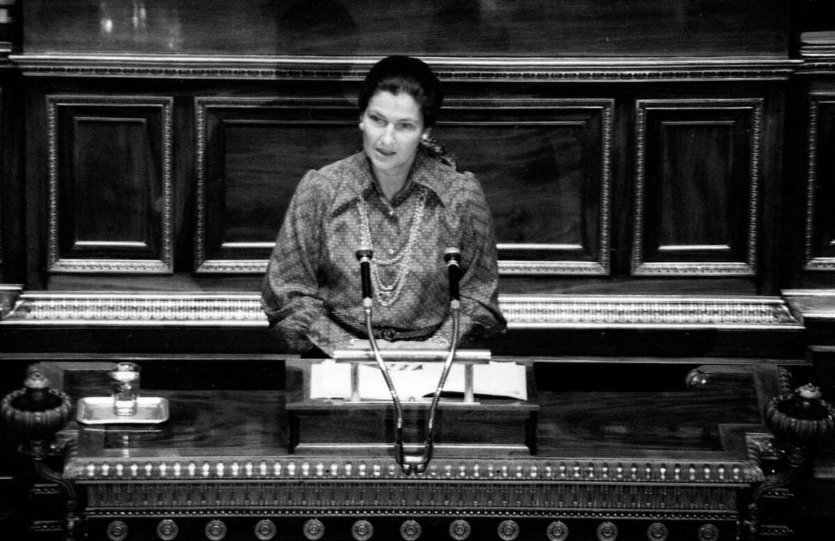 In this Dec. 13, 1974, file photo, French Health Minister Simone Veil speaks about abortion law at the French National Assembly in Paris. Simone Veil, a Nazi death camp survivor and prominent French politician who spearheaded abortion rights, dies at age 89.