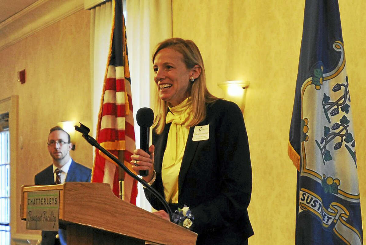 The Northwest Connecticut Chamber of Commerce recognized community members for their good works Thursday with its annual Celebration of Success. McCall Center Executive Director Maria Coutant Skinner speaks after receiving the Quality of Life award on behalf of the center.