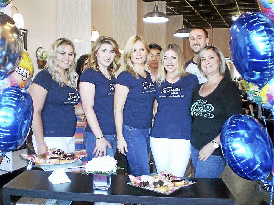 Contributed photoJules Salon Owner Jules Hunt (third from left), hosted a 10 Year Anniversary celebration at her salon located at 750 Straits Turnpike in Watertown. Photo: Digital First Media