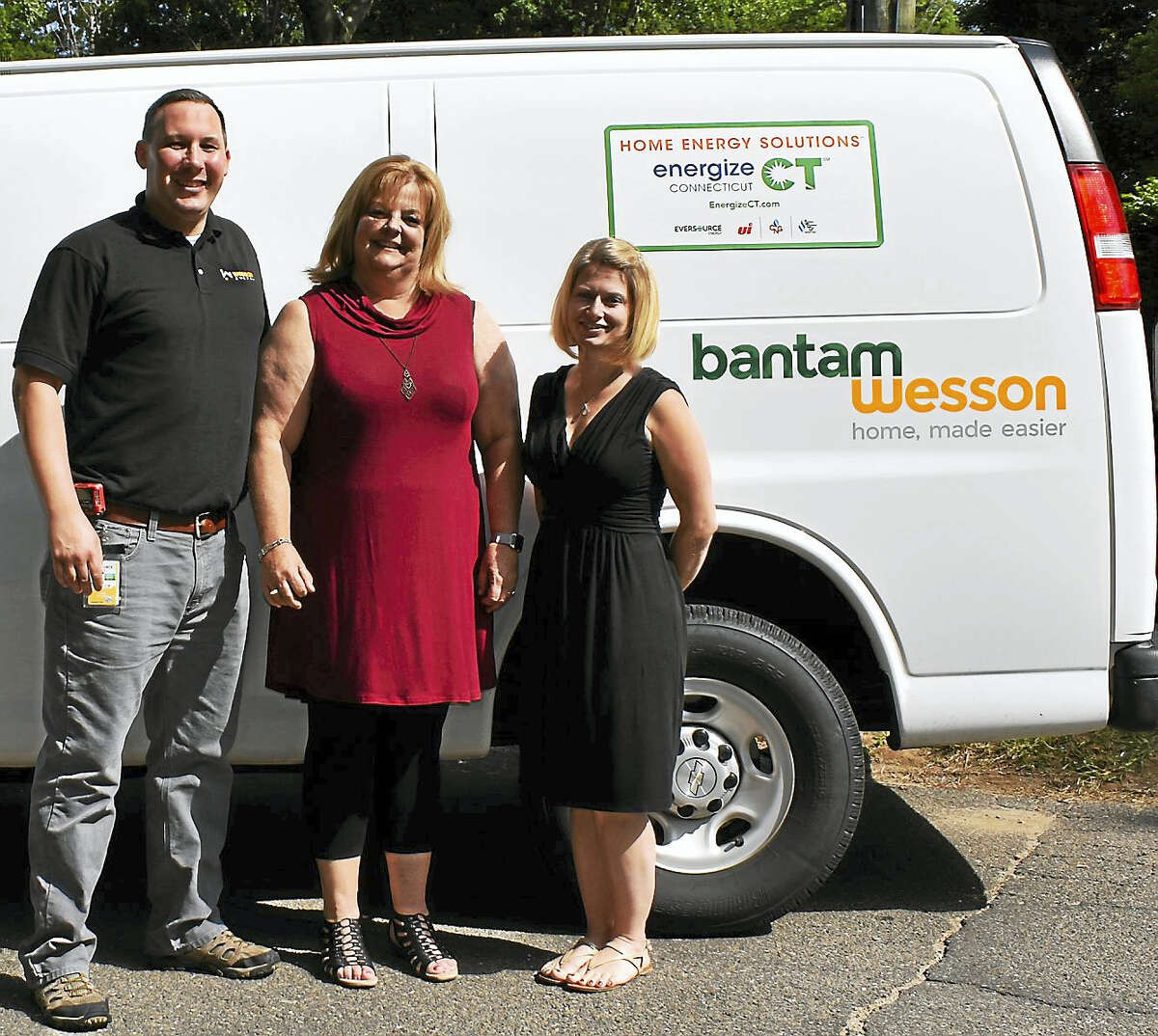 Contributed photoHomeowner Shelby Neal, right, joins BantamWesson Project Sales Manager Chris Borucki and Home Performance Contracting Division Manager Jane Bourdeau for her energy audit.