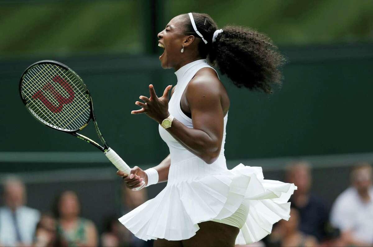 Serena Williams celebrates a point against Amara Safikovic during their women's singles match at Wimbledon in 2016.