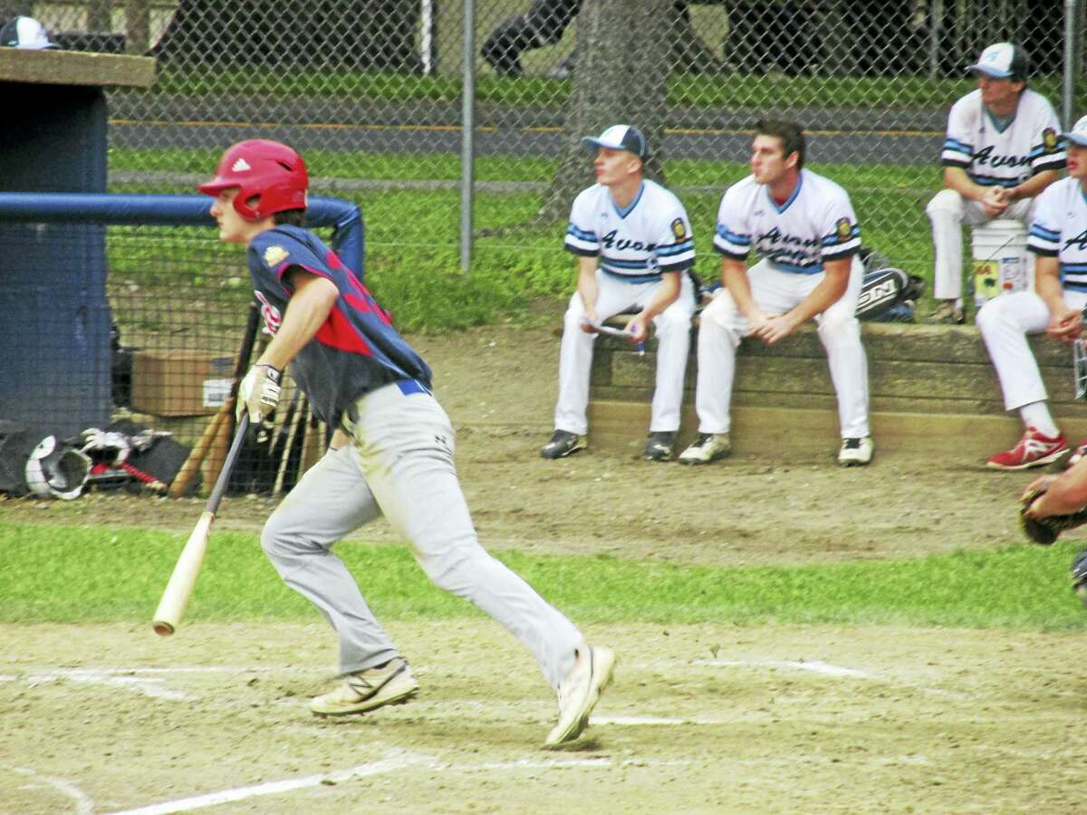 Photo by Peter Wallace Tony Pacino had two of Winsted's five hits against American Legion Zone I leader Avon Thursday at Winsted's Walker Field.