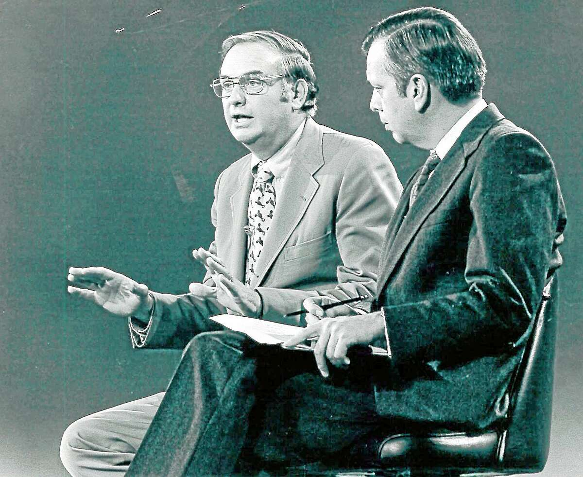 Gov. Lowell Weicker being interviewed by WCBS-TV Political Editor Jerome Wilson in a Harford studio in the early 1970s.