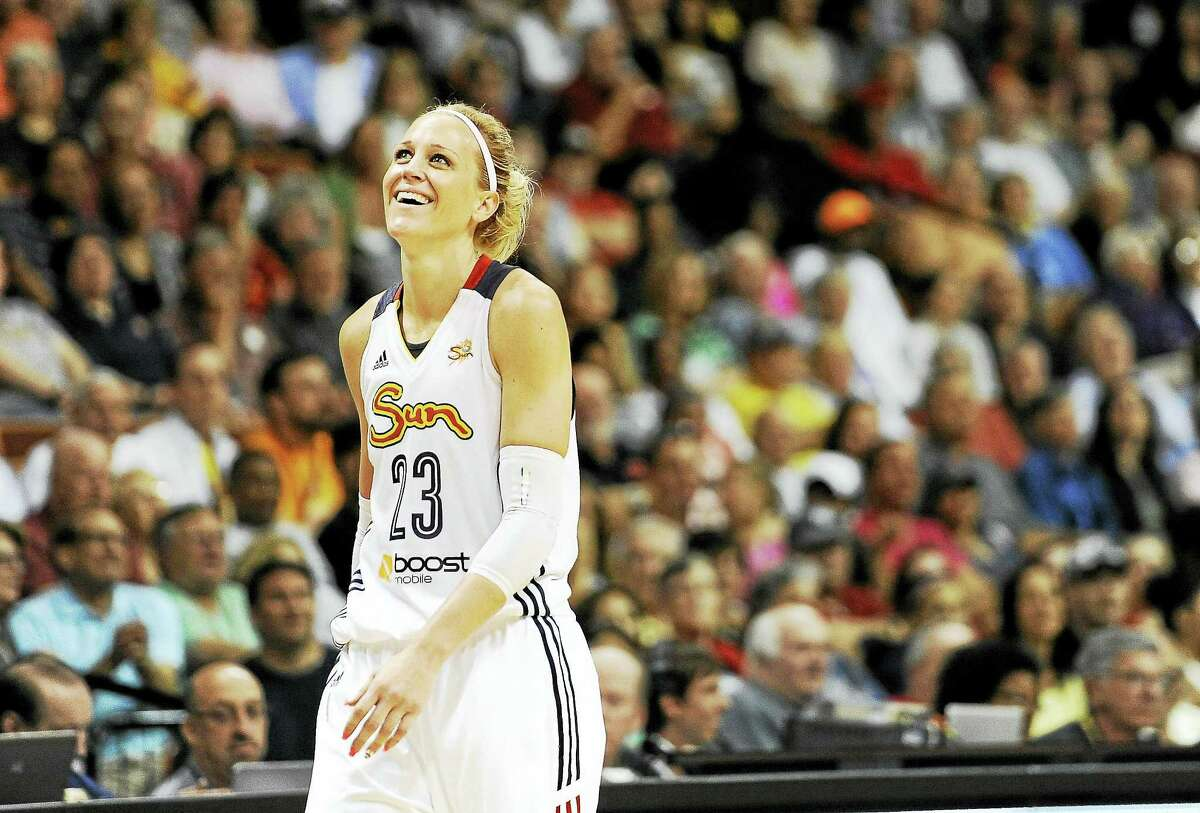 The Sun's Katie Douglas reacts during the second half of a 2014 game.