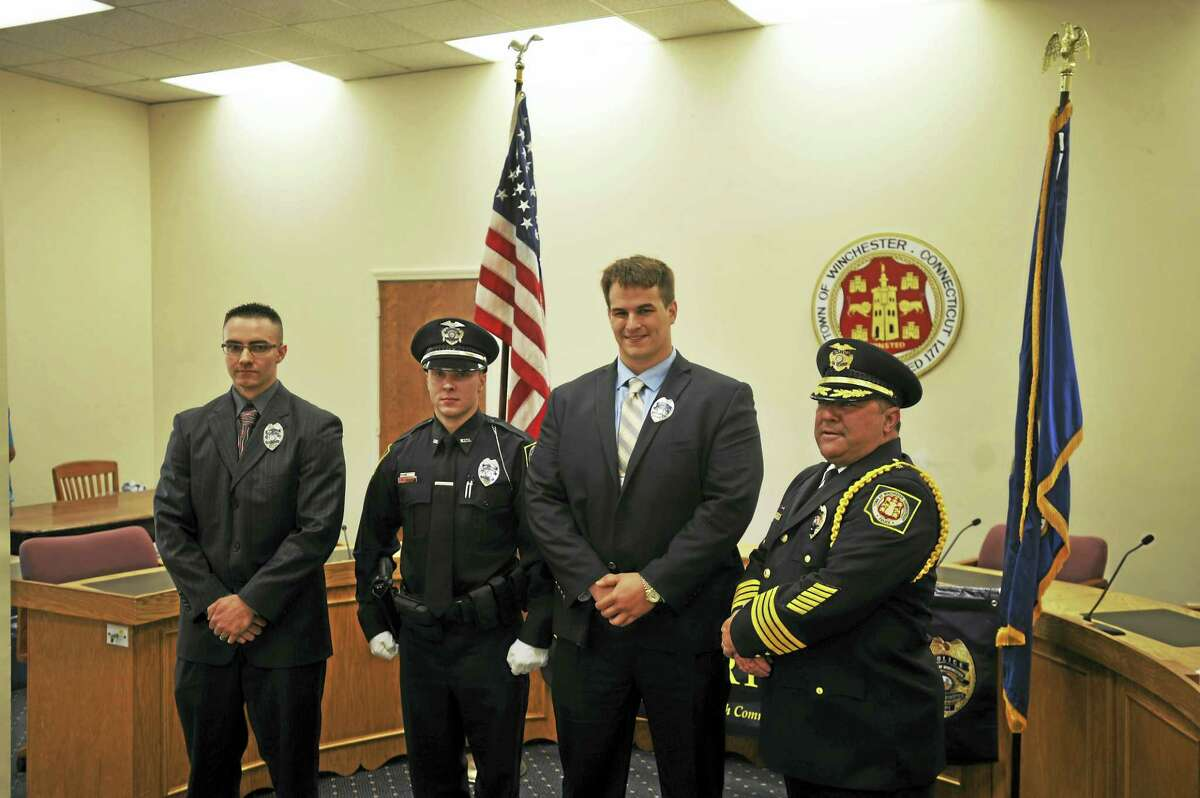 Winsted welcomed three new police officers Wednesday with a swearing-in ceremony. Above, from left, are Officer Joshua Blass, Officer Bryan Failla, Officer Justin Waltzer, and Police Chief William Fitzgerald Jr.