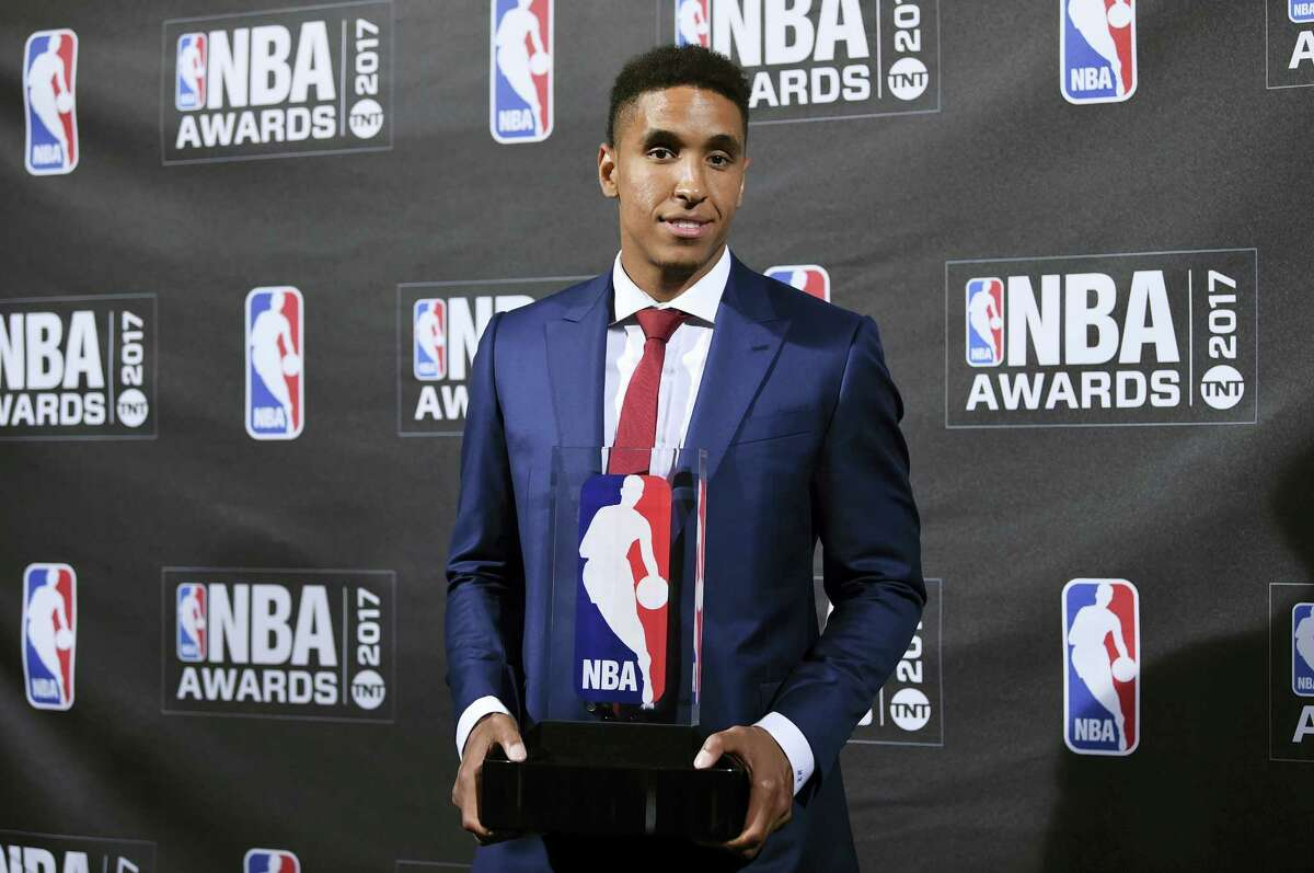 Kia NBA Rookie of the Year winner Malcom Brogdon poses in the press room at the 2017 NBA Awards at Basketball City at Pier 36 on Monday, June 26, 2017, in New York.