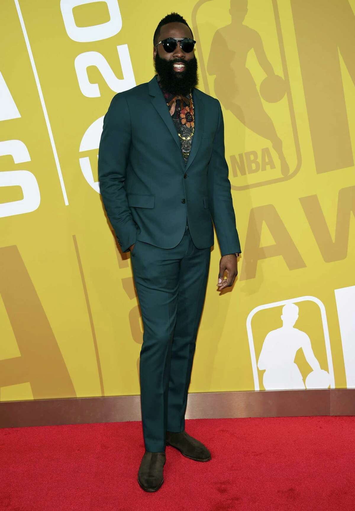 NBA player James Harden, of the Houston Rockets, arrives at the NBA Awards at Basketball City at Pier 36 on Monday, June 26, 2017, in New York. (Photo by Evan Agostini/Invision/AP)