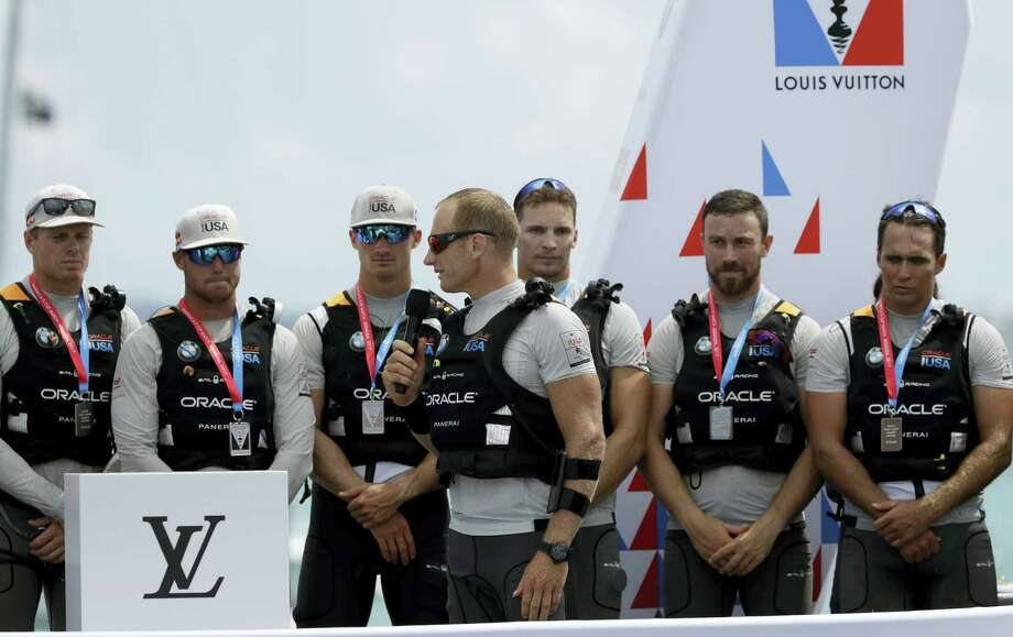Oracle Team USA skipper Jimmy Spithill address his crew and fans following his teams loss to Emirates Team New Zealand in the America's Cup sailing competition Monday, in Hamilton, Bermuda. Photo: Gregory Bull - The Associated Press  / Copyright 2017 The Associated Press. All rights reserved.