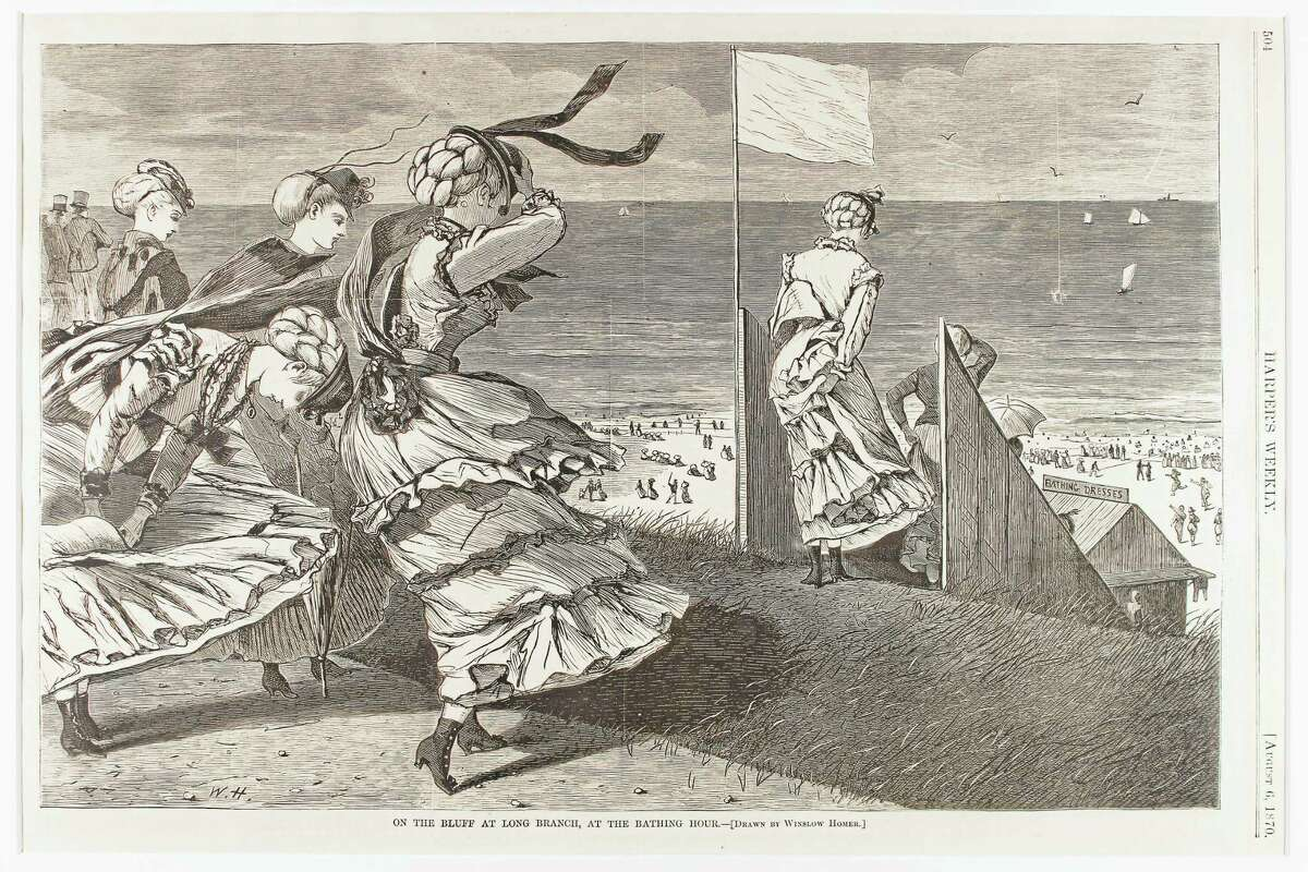 """""""On the Bluff at Long Beach, Bathing Hour,"""" by Winslow Homer, Harper's Weekly, Aug. 6, 1870, Gift of David and Ann Jones."""