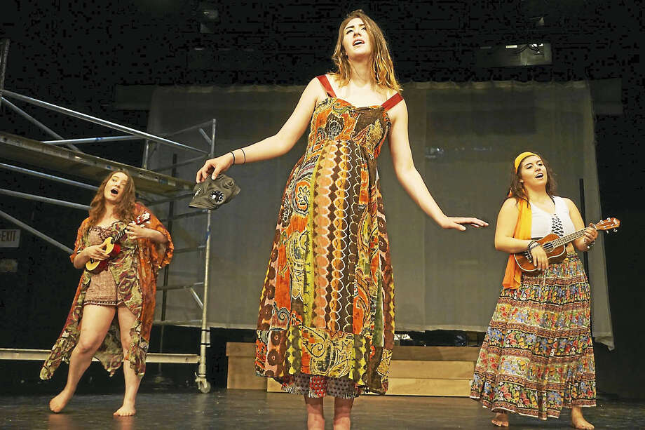 """Members of the cast of """"Hair"""" rehearse for the show's opening on Friday night in Sherman. The show runs through July 29. Photo: Photos Courtesy Of The Sherman Playhouse"""